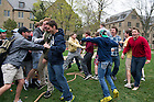 Apr 28, 2014; Zahm House celebrates after defeating St. Eds in the Residence Hall tug of war challenges on the North Quad as part of Notre Dame Day. Zahm won the competition. Photo by Barbara Johnston/University of Notre Dame