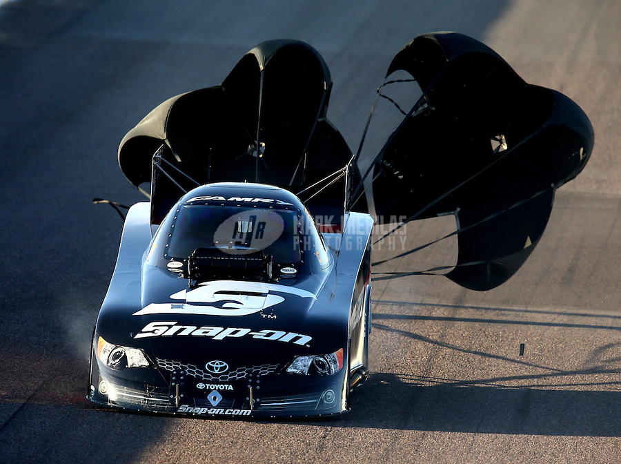 Feb 21, 2014; Chandler, AZ, USA; NHRA funny car driver Cruz Pedregon during qualifying for the Carquest Auto Parts Nationals at Wild Horse Pass Motorsports Park. Mandatory Credit: Mark J. Rebilas-USA TODAY Sports