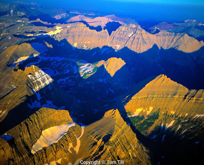 Glacier peaks in evening light  Glacier National Park, Montana  Rocky Mountains   Continental Divide  July