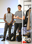 """Sharrod Williams and Casey Cott during the rehearsal for The Kennedy Center production of """"The Who's Tommy"""" at the New 42nd Street on April 11, 2019 in New York City."""