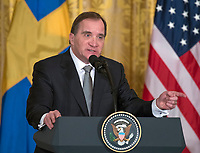 Prime Minister Stefan Lofven of Sweden answers questions as he and United States President Donald J. Trump hold a joint press conference in the East Room of the White House in Washington, DC on Tuesday, March 6, 2018.<br /> CAP/MPI/RS<br /> &copy;RS/MPI/Capital Pictures