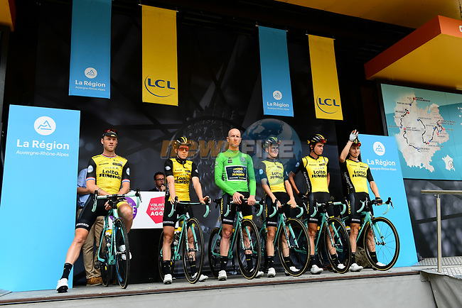 Team LottoNL-Jumbo introduced on stage at sign on before Stage 1 of the 2018 Criterium du Dauphine 2018 running 179km from Valence to Saint-Just-Saint-Rambert , France. 4th June 2018.<br /> Picture: ASO/Alex Broadway | Cyclefile<br /> <br /> <br /> All photos usage must carry mandatory copyright credit (© Cyclefile | ASO/Alex Broadway)