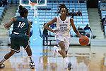 09 November 2015: North Carolina's N'Dea Bryant (22) and Mount Olive's Daria Simmons (10). The University of North Carolina Tar Heels hosted the University of Mount Olive Trojans at Carmichael Arena in Chapel Hill, North Carolina in a 2015-16 NCAA Women's Basketball exhibition game. UNC won the game 99-45.