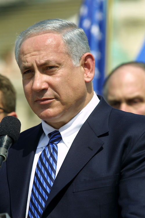 protest2/041502 -- Former Israeli Prime Minister Benjamin Netanyahu (Likud, 1996-99) speaks at a rally in support of Israel in front of the Capitol.