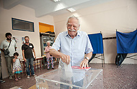Pictured: Manolis Glezos casts his vote. STOCK PICTURE<br /> Re: Manolis Glezos, who took down a flag with a swastika from the Acropolis 30th of May 1941.