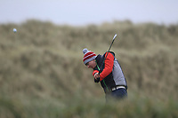 Josh Black (Lisburn) on the 13th tee during Round 2 of the Ulster Boys Championship at Portrush Golf Club, Portrush, Co. Antrim on the Valley course on Wednesday 31st Oct 2018.<br /> Picture:  Thos Caffrey / www.golffile.ie<br /> <br /> All photo usage must carry mandatory copyright credit (&copy; Golffile | Thos Caffrey)