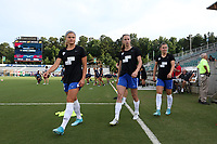 Cary, North Carolina  - Saturday June 17, 2017: Rosie White, Julie King, and Emilie Haavi prior to a regular season National Women's Soccer League (NWSL) match between the North Carolina Courage and the Boston Breakers at Sahlen's Stadium at WakeMed Soccer Park. The Courage won the game 3-1.