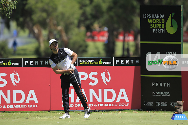 Joel Stalter (FRA) on the 14th tee during Round 2 of the ISPS Handa World Super 6 Perth on Friday 17th February 2017.<br /> Picture:  Thos Caffrey / Golffile<br /> <br /> All photo usage must carry mandatory copyright credit     (&copy; Golffile | Thos Caffrey)