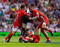 Exeter Chiefs' Dave Ewers is tackled by Saracens' Billy Vunipola and Brad Barritt<br /> <br /> Photographer Bob Bradford/CameraSport<br /> <br /> Gallagher Premiership Final - Exeter Chiefs v Saracens - Saturday 1st June  2018 - Twickenham Stadium - London<br /> <br /> World Copyright © 2019 CameraSport. All rights reserved. 43 Linden Ave. Countesthorpe. Leicester. England. LE8 5PG - Tel: +44 (0) 116 277 4147 - admin@camerasport.com - www.camerasport.com