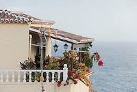 Spain, Canary Islands, La Palma, San Andres: flower decorated balcony