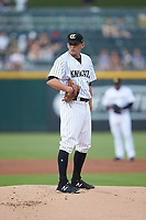 Charlotte Knights starting pitcher Kyle Kubat (19) looks to his catcher for the sign against the Scranton/Wilkes-Barre RailRiders at BB&T BallPark on August 13, 2019 in Charlotte, North Carolina. The Knights defeated the RailRiders 15-1. (Brian Westerholt/Four Seam Images)