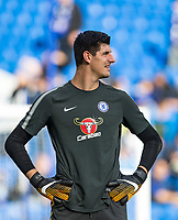 Goalkeeper Thibaut Courtois of Chelsea ahead of the Premier League match between Chelsea and Watford at Stamford Bridge, London, England on 21 October 2017. Photo by Andy Rowland.