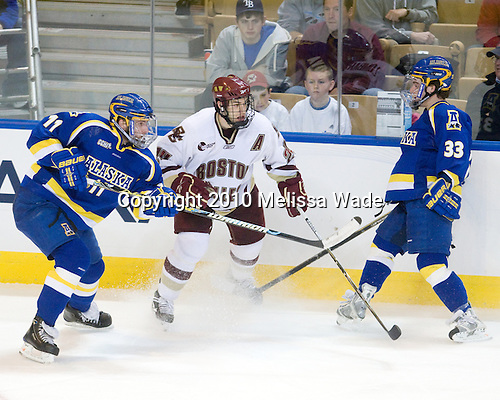 Joe Sova (Alaska-Fairbanks - 11), Matt Lombardi (BC - 24), Dustin Sather (Alaska-Fairbanks - 33) - The Boston College Eagles defeated the University of Alaska-Fairbanks Nanooks 3-1 (EN) in their NCAA Northeast Regional semi-final on Saturday, March 27, 2010, at the DCU Center in Worcester, Massachusetts.