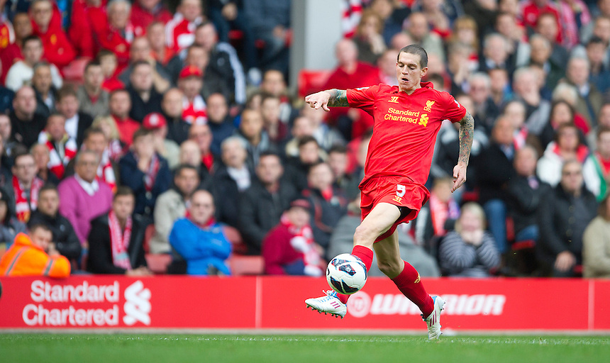 Liverpool's Daniel Agger ..Football - Barclays Premiership - Liverpool v Stoke City - Sunday 7th October 2012 - Anfield - Liverpool..