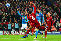 Liverpool's Virgil van Dijk misses a chance<br /> <br /> Photographer Richard Martin-Roberts/CameraSport<br /> <br /> UEFA Champions League Group C - Liverpool v Napoli - Tuesday 11th December 2018 - Anfield - Liverpool<br />  <br /> World Copyright © 2018 CameraSport. All rights reserved. 43 Linden Ave. Countesthorpe. Leicester. England. LE8 5PG - Tel: +44 (0) 116 277 4147 - admin@camerasport.com - www.camerasport.com
