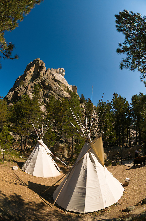 Teepees, Mount Rushmore National Memorial, Black Hills, South Dakota USA