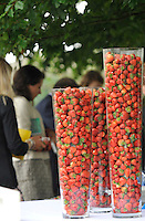 30.07.2013 Goodwood, England. Strawberries and cream during day one of the at Glorious Goodwood Festival.