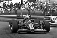 DETROIT, MI - JUNE 22: Ayrton Senna of Brazil drives the Lotus 98T/Renault EF15B en route to victory in the Detroit Grand Prix FIA Formula One World Championship race on the Detroit Street Circuit in Detroit, Michigan, on June 22, 1986.