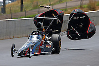 Jul. 20, 2013; Morrison, CO, USA: NHRA top dragster driver XXXX during qualifying for the Mile High Nationals at Bandimere Speedway. Mandatory Credit: Mark J. Rebilas-