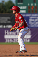 Auburn Doubledays second baseman Dalton Dulin (4) leads off first during a game against the Batavia Muckdogs on September 7, 2015 at Falcon Park in Auburn, New York.  Auburn defeated Batavia 11-10 in ten innings.  (Mike Janes/Four Seam Images)