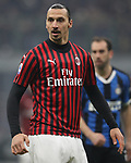 Zlatan Ibrahimovic of AC Milan with Diego Godin of Inter in the background during the Serie A match at Giuseppe Meazza, Milan. Picture date: 9th February 2020. Picture credit should read: Jonathan Moscrop/Sportimage