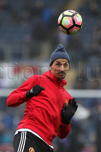 February 19th 2017, Blackburn, Lancashire, England; FA Cup 5th Round football, Blackburn Rovers versus Manchester United; Substitute Zlatan Ibrahimovic of Manchester United warming up before the match