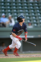 Right fielder Jarren Duran (35) of the Greenville Drive bats in Game 1 of a doubleheader against the Rome Braves on Friday, August 3, 2018, at Fluor Field at the West End in Greenville, South Carolina. Rome won, 7-6. (Tom Priddy/Four Seam Images)