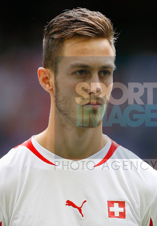 Francois Affolter of Switzerland..London 2012 Men's Olympic football, Group B, Mexico v Switzerland at the Millennium Stadium, Cardiff, Wales on the 1st August 2012. Pic Jake Badger/SPORTIMAGE...