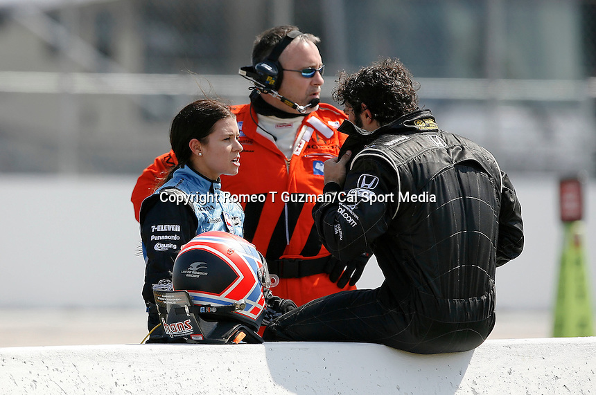 April 5, 2009: Danica Patrick (L) has words with rookie driver Raphael Matos after their crash coming out off turn 11 during the IRL IndyCar Series Honda Grand Prix of St.Petersburg on the streets of St. Petersburg, Florida