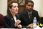 Nevada Senate Democrats, Valerie Wiener and Steven Horsford answer media questions at the Legislature, in Carson City, Nev., on Wednesday, March 30, 2011.  .Photo by Cathleen Allison