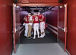 Wisconsin Badgers teammates huddles prior to an NCAA Big Ten Conference football game against the Maryland Terrapins Saturday, October 21, 2017, in Madison, Wis. The Badgers won 38-13. (Photo by David Stluka)