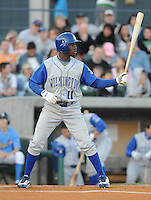 April 10, 2009: Outfielder Derrick Robinson (43) of the Wilmington Blue Rocks, Class A affiliate of the Kansas City Royals, in a game against the Myrtle Beach Pelicans at BB&T Coastal Field in Myrtle Beach, S.C. Photo by:  Tom Priddy/Four Seam Images