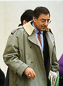 Former White House Chief of Staff Leon Panetta leaves U.S. District Court in Washington, D.C. on January 28, 1998 after answering questions before the Grand Jury looking into the Lewinsky Affair..Credit: Ron Sachs / CNP