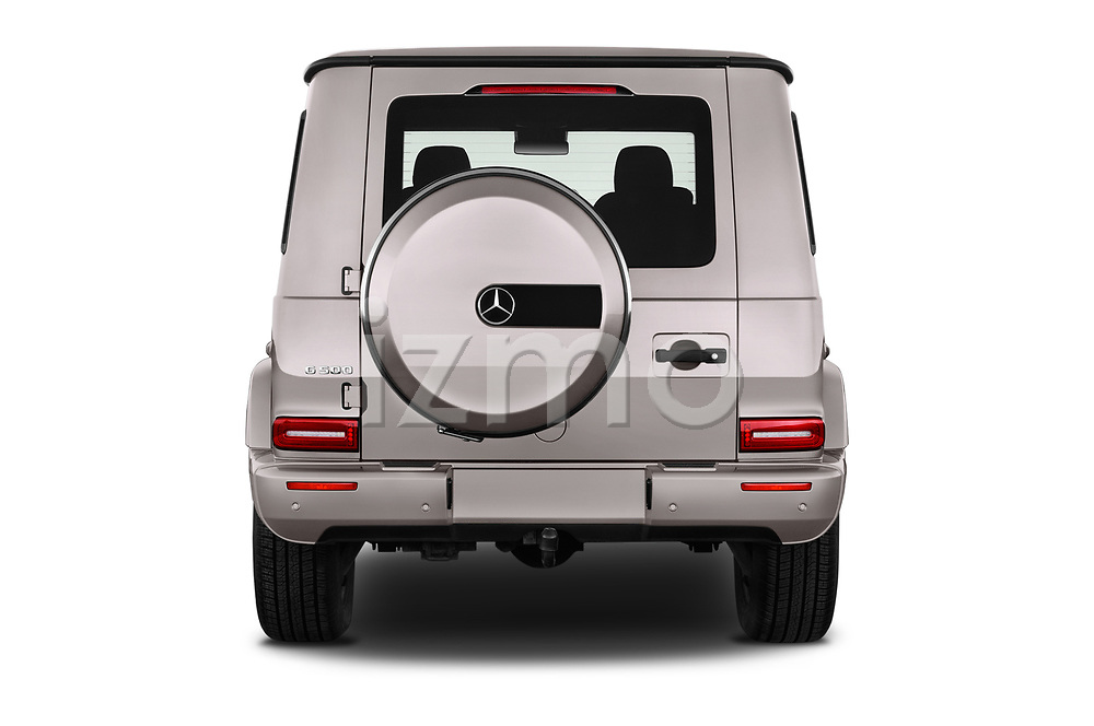Straight rear view of 2019 Mercedes Benz G-Class Base 5 Door SUV Rear View  stock images