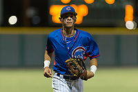 AZL Cubs 2 left fielder Ezequiel Pagan (32) jogs off the field between innings of an Arizona League game against the AZL Indians 2 at Sloan Park on August 2, 2018 in Mesa, Arizona. The AZL Indians 2 defeated the AZL Cubs 2 by a score of 9-8. (Zachary Lucy/Four Seam Images)
