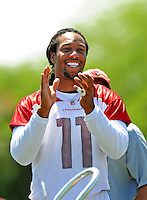Jun 9, 2008; Tempe, AZ, USA; Arizona Cardinals wide receiver (11) Larry Fitzgerald during mini camp at the Cardinals practice facility. Mandatory Credit: Mark J. Rebilas-