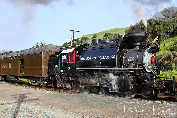 The Robert Dollar Co. steam engine #3 in Sunol, California. Built in 1927 by the American Locomotive Company (ALCO) the #3 remained in service with the Robert Dollar Lumber Co. until 1959. In February of 2007 its rebuild was completed and it began pulling passengers through Niles Canyon.