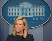 United States Secretary of Homeland Security Kirstjen Nielsen holds a news briefing at the White House in Washington, DC, June 18, 2018. Credit: Chris Kleponis / CNP