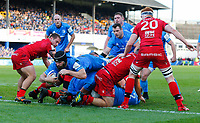 12th January 2020; RDS Arena, Dublin, Leinster, Ireland; Heineken Champions Cup Rugby, Leinster versus Lyon Olympique Universitaire; Scott Fardy (c) of Leinster dives over the pack to only to have his try called back - Editorial Use