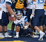 Mater Dei9 running back Zach Napovanice is helped up and congratulated by teammates after scoring a touchdown in the first quarter. Mater Dei played football at Althoff on Friday September 13, 2019. <br /> Tim Vizer/Special to STLhighschoolsports.com