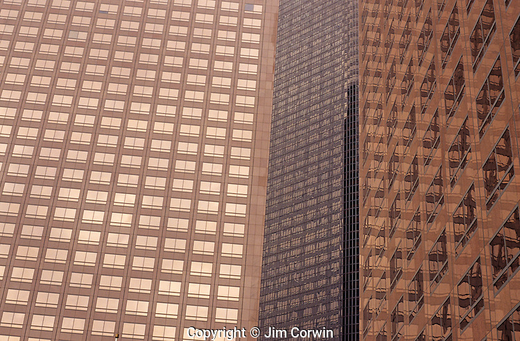 Downtown district with glass office buildings with reflections financial district Los Angeles California USA