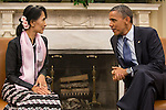 President Barack Obama meets with Burmese opposition leader Aung San Suu Kyi in the Oval Office at the White House on Wednesday, September 19, 2012 in Washington, DC.