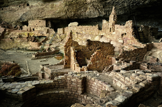 View of Long House in the cliff dwellings of Mesa Verde National Park, Colorado