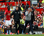 Jose Mourinho manager of Manchester United waves away a substitute after checking on and injured Eric Bailly of Manchester United during the English Premier League match at the Old Trafford Stadium, Manchester. Picture date: May 21st 2017. Pic credit should read: Simon Bellis/Sportimage