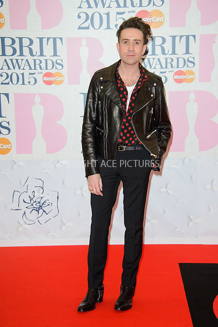 WWW.ACEPIXS.COM<br /> <br /> February 25 2015, London<br /> <br /> Nick Grimshaw arriving at the Brit awards 2015 at the O2 Arena on February 25 2015 in London<br /> <br /> By Line: Famous/ACE Pictures<br /> <br /> <br /> ACE Pictures, Inc.<br /> tel: 646 769 0430<br /> Email: info@acepixs.com<br /> www.acepixs.com