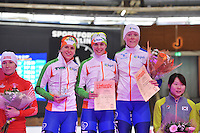 SCHAATSEN: BERLIJN: Sportforum, 08-12-2013, Essent ISU World Cup, podium Team Pursuit Ladies, Ireen Wüst, Marrit Leenstra,  Jorien ter Mors (NED), ©foto Martin de Jong