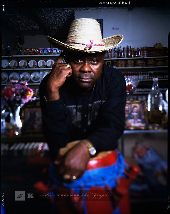 Photo Andrew Kaufman-November 1997. For NEWSWEEK. Papa Paul of Haiti owns a traditional Botanica in Miami's Little Haiti. He was escaping the political turmoil by coming to Miami, Florida.