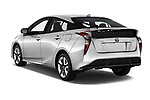 Car pictures of rear three quarter view of a 2018 Toyota Prius lounge 5 Door Hatchback angular rear