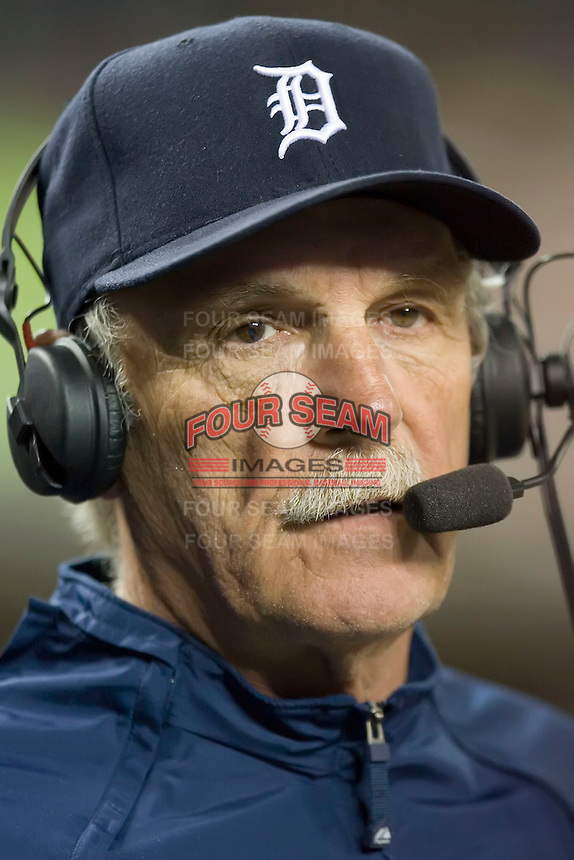 Detroit Tigers' manager Jim Leyland talks to the ESPN TV commentators via a headset between innings of their game versus the Los Angeles Angels  at Comerica Park in Detroit, MI, Sunday, April 27, 2008.