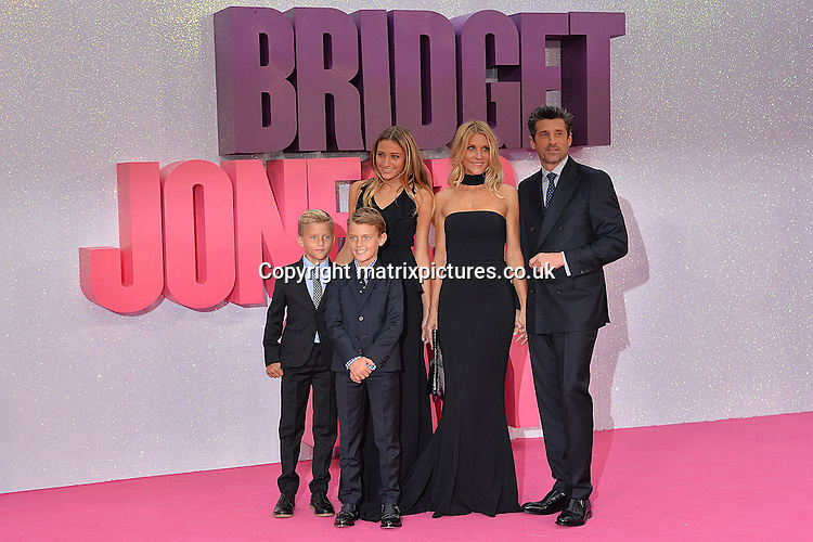 NON EXCLUSIVE PICTURE: MATRIXPICTURES.CO.UK<br /> PLEASE CREDIT ALL USES<br /> <br /> WORLD RIGHTS<br /> <br /> American &quot;Grey's Anatomy&quot; actor Patrick Dempsey attends the world premiere of &quot;Bridget Jones's Baby&quot; in which he also stars with his wife Jillian Fink and children Tallula, Darby and Sullivan Dempsey at Leicester Square in London.<br /> <br /> SEPTEMBER 5th 2016<br /> <br /> REF: JWN 162864